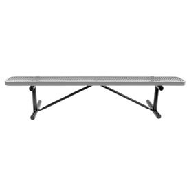 """72"""" Bench Gray Expanded Metal Surface Mount Style"""