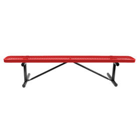"""72"""" Bench Red Perforated Metal Surface Mount Style"""