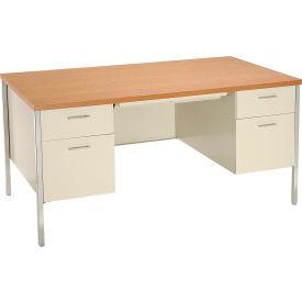 """HON® Steel Desk - Double Pedestal - 60"""" x 30"""" - Oak/Putty"""
