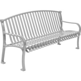 """72"""" Bench Curved Top Ribbed Style - Gray"""