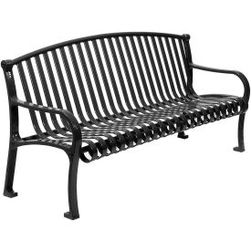 """72"""" Bench Curved Top Ribbed Style - Black"""