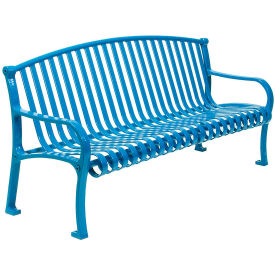 "72"" Bench Curved Top Ribbed Style - Blue"
