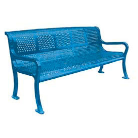 """72"""" Perforated Roll Formed Bench - Blue"""