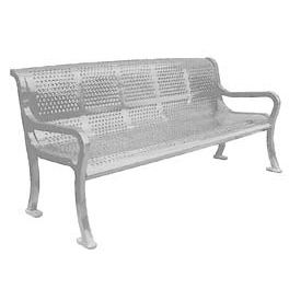 """72"""" Perforated Roll Formed Bench - Gray"""