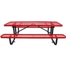 """72"""" Rectangular Picnic Table Red Expanded Metal Surface Mount Style"""
