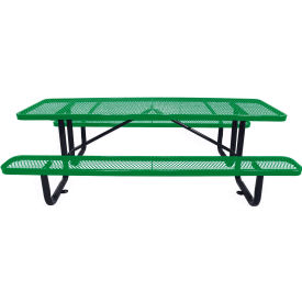 "96"" Rectangular Picnic Table Green Expanded Metal Surface Mount Style"