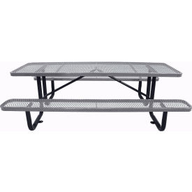 "96"" Rectangular Picnic Table Gray Expanded Metal Surface Mount Style"