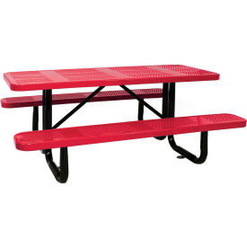 "96"" Rectangular Picnic Table Red Perforated Metal Surface Mount Style"