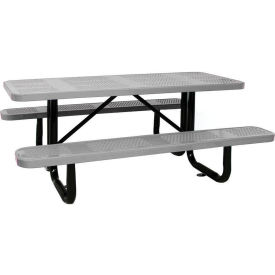 """96"""" Rectangular Picnic Table Gray Perforated Metal Surface Mount Style"""