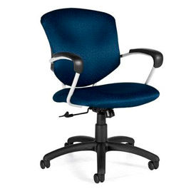 Global™ Supra Mid Back Executive Chair - Blue Fabric Upholstery