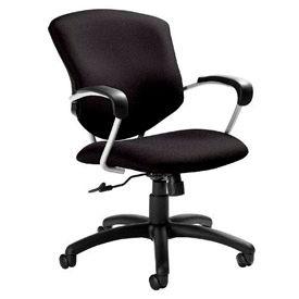 Global™ Supra Mid Back Executive Chair - Black Fabric Upholstery