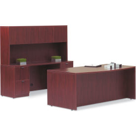 "Offices To Go™ Wood Desk with Bow Front - 71""- Mahogany"