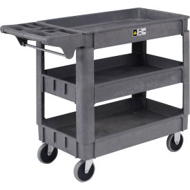 """Small Deluxe 3 Shelf Plastic Utility & Service Cart 5"""" Rubber Casters"""