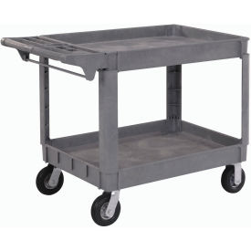 "Large Deluxe 2 Shelf Plastic Utility & Service Cart 6"" Pneumatic Casters"