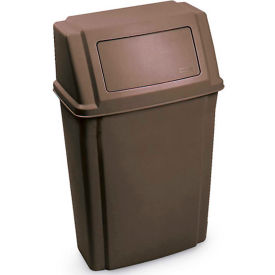 Rubbermaid Wall Mount Trash Can with Swing Lid, Brown, 15 Gallon
