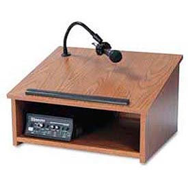 Wireless Tabletop Lectern With Cordless Sound System, Medium Oak