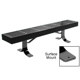 "48"" Slatted Flat Bench Surface Mount Style - Black"