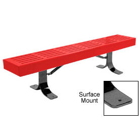 """48"""" Slatted Flat Bench Surface Mount Style - Red"""