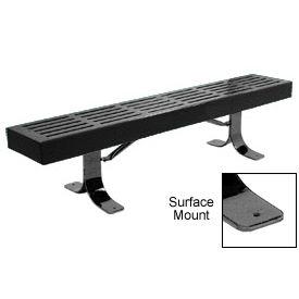 "72"" Slatted Flat Bench Surface Mount Style - Black"