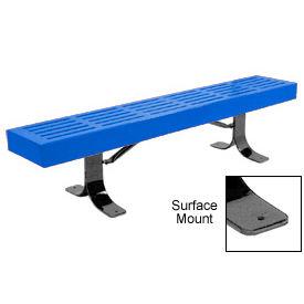 "96"" Slatted Flat Bench Surface Mount Style - Blue"