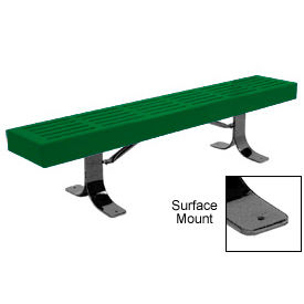 """96"""" Slatted Flat Bench Surface Mount Style - Green"""