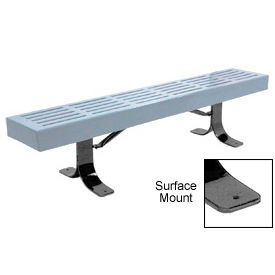 """96"""" Slatted Flat Bench Surface Mount Style - Gray"""