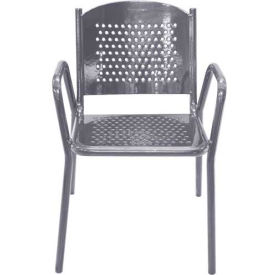 Leisure Craft Outdoor Perforated Chair with Armrests - Gray