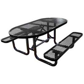 """72"""" Oval Expanded Metal Surface Mount Picnic Table - Black"""