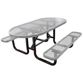 """72"""" Oval Expanded Metal Surface Mount Picnic Table - Gray"""