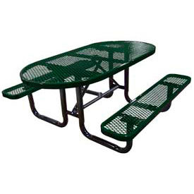 """72"""" Oval Expanded Metal Surface Mount Picnic Table - Green"""