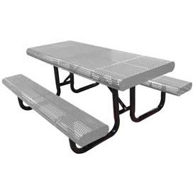 """96"""" Radial Edge Surface Mount Picnic Table, Perforated Metal - Gray"""