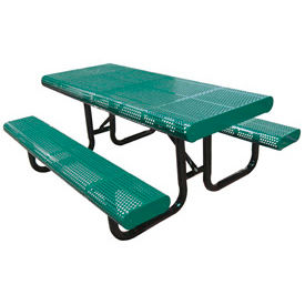 """120"""" Radial Edge Surface Mount Picnic Table, Perforated Metal - Green"""