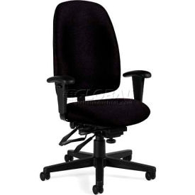 Global™ Granada High Back Multi-Tilter Chair - Black Fabric Upholstery