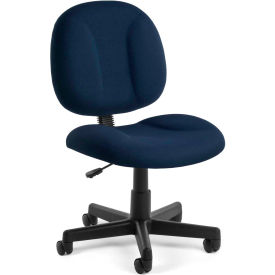 OFM Comfort Series Armless Task Chair, Fabric, Mid Back, Navy