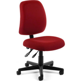 OFM Posture Series Armless Swivel Task Chair, Fabric, Mid Back, Wine