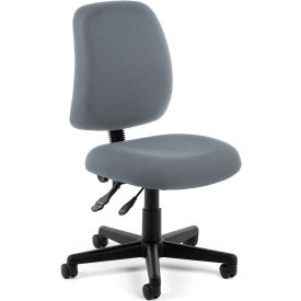 OFM Posture Series Armless Swivel Task Chair, Fabric, Mid Back, Gray
