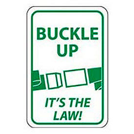 """Reflective Aluminum Sign - Buckle Up It's The Law- .080"""" Thick, TM135J"""
