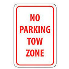 """Reflective Aluminum Sign - No Parking Tow Zone- .080"""" Thick, TM38J"""