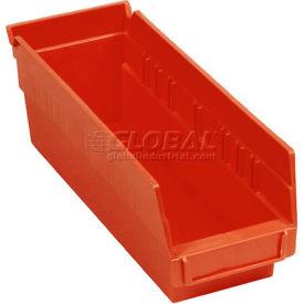 "Quantum Plastic Shelf Storage Bin - QSB201 Nestable 4-1/8""W x 11-5/8""D x 6""H Red - Pkg Qty 36"