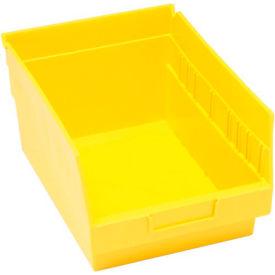 """Quantum Plastic Shelf Bin - QSB207 8-3/8""""W x 11-5/8""""D x 6""""H Yellow - Pkg Qty 20"""