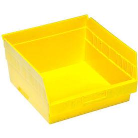 """Quantum Plastic Shelf Bin - QSB209 11-1/8""""W x 11-5/8""""D x 6""""H Yellow - Pkg Qty 8"""