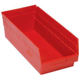 "Quantum Plastic Shelf Storage Bin - QSB208 Nestable 8-3/8""W x 17-7/8""D x 6""H Red - Pkg Qty 10"