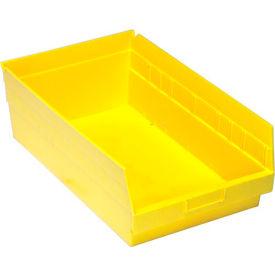 """Quantum Plastic Shelf Bin - QSB210 11-1/8""""W x 17-7/8""""D x 6""""H Yellow - Pkg Qty 8"""