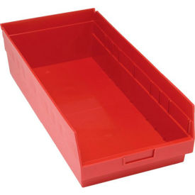 "Quantum Plastic Shelf Storage Bin - QSB216 Nestable 11-1/8""W x 23-5/8""D x 6""H Red - Pkg Qty 6"