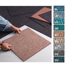 "Heavy Duty Berber Carpet Tile 19-7/8"" X 19-7/8"", 16 Tiles Per Box Medium Blue"
