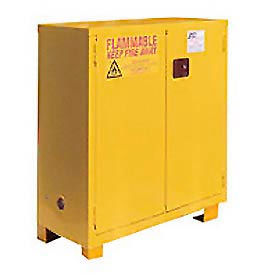 """Jamco Flammable Cabinet FM28 - with Legs - Manual Close Double Door 28 Gallon - 34""""W x 18""""D x 48""""H"""