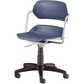 OFM Martisa Series Swivel Task Chair with Silver Frame, Plastic, Mid Back, Navy