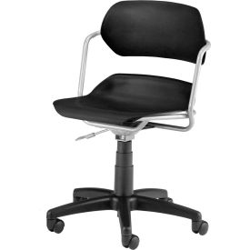 OFM Martisa Series Swivel Task Chair with Silver Frame, Plastic, Mid Back, Black