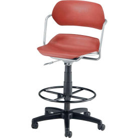 OFM Martisa Series Swivel Task Chair with Drafting Kit, Plastic, Mid Back, Wine with Silver Frame