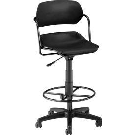 OFM Martisa Series Swivel Task Chair with Drafting Kit, Plastic, Mid Back, Black with Black Frame